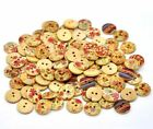 Mixed Wooden Sewing Buttons with 2 holes, 15mm/Hole 2mm for Scrapbooking