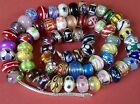 SET OF 3 GIFT BOXED Murano glass lampwork beads charms bracelet 925 SILVER CORES