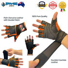 Weight Lifting Leather Gloves with Bar Straps Long Cuff for Fitness Workout