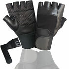 PADDED WEIGHT LIFTING TRAINING GYM LEATHER GLOVES WRIST SUPPORT BODY BUILDING