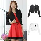 Women's Fashion Bow Handmade Rose Brooch Long Sleeve Shrug Jacket Top UJ9230
