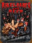 RETRO METAL PLAQUE :BIKE;BABES and BEER sign/Ad