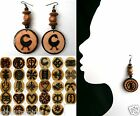 ETHNIC INSPIRED: WOMENS MADE TO ORDER AFRICA ADINKRA 8 CM PENDANT DROP EARRINGS