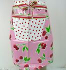 Mexican Oilcloth Fabric - Adult Half Apron - Wipe Clean - Pink Cherries