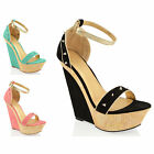 WOMENS LADIES SNAKE HIGH WEDGE HEEL STUD STRAP PEEP TOE PLATFORM SANDALS SIZE