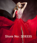 Custom Made Halter Neck Red Beading Chiffon Red Slit Prom Dress Evening Gown