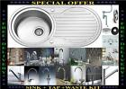 New 1.0 Round Bowl Reversible Stainless Steel Kitchen Sink & Huge Choice of Taps