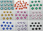200 Flatback Acrylic Square Rhinestone Button 8mm Sew on Beads Pick Your Color