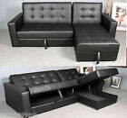 HomCom Sectional Sofa Couch Bed Loveseat Daybed Storage Box Leather Furniture