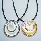 Anna Nova Jewellery Gold or Silver Circular Pendant Necklace with Faux Pearl