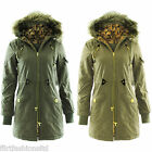 Womens Cotton Twill Parka Jacket Ladies Padded Fur Hooded Quilted Military Coat