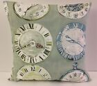 FRENCH SHABBY CHIC-STYLE SAGE GREEN SINGLE CUSHION COVERS VINTAGE CLOCK FACES