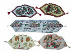 "Xmas Tapestry Runner Holly Christmas 13"" X 72"" Village Carol Bells Poinsettia"