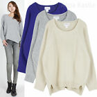 AnnaKastle Raglan Long Sleeve Side Slit Sweater M-L Womens Textured Pullover