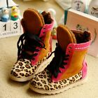 1822 Boutique Genuine Leather Pink Leopard Sneakers Boots Fleece Lining 30-33