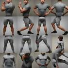 Mens Grey Sports Base Under Layer Compression Gear Long Short Sleeve Top Take 5