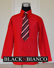 BOYS CHRISTMAS RED LONG SLEEVE DRESS SHIRT WITH MATCHING TIE 4 5 6 7 8 10 12 14