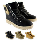 Womens Suede Fur Lined Fur Cuff Lace Up Winter Warm Snow Ankle Boot UK Sizes 3-8