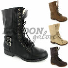 Amazing Ladies Womens Military Boots Flat Ankle Combat Worker Fur Lined New Size