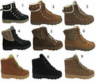 LADIES ANKLE TRAINERS WOMENS HI TOP WINTER FUR LINED LACE UP FLAT SHOE BOOT SIZE