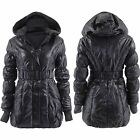 Womens Puffer Knitted Hooded Jacket Ladies Padded Quilted Winter Warm Coat