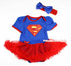 Yellow Hot Red Super Girl Royal Blue Bodysuit Hot Red Skirt Baby Dress NB-18M