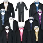 New 7pc Satin Vest Bow Tie  Boy Baby Toddler Kid Black Formal Suit Tuxedo S-20