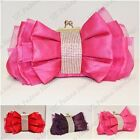 Bow Pleated Diamante Crystal Satin Lace Evening Wedding Prom Party / Clutch Bag