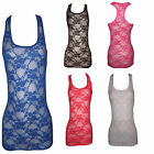 New Womens Long Vest Ladies Flower Print Lace Girl T shirt Dress Racer Back top