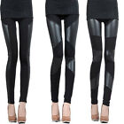 Women Cotton PU Faux Leather Tights Leggings Bodycon Stretchy Skinny Pants 5Size