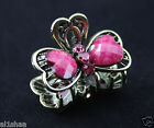 Luxury Antiqued MINI butterfly hair clip, claw, clamp Rhinestone crystal metal