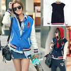Fashion Womens Baseball Uniforms Stand Collar Stylish Casual Coat Jacket FUS