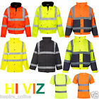 NEW MENS WOMENS HI VIZ VIS VISIBILTY REFLECTIVE CONTRACTOR SECURITY WORK JACKET