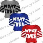 Womens Short Sleeves What Ever Stripes Ladies Cropped Baggy Cotton T Shirt Top
