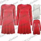 Womens Stretchy Long Sleeves Round Neck Ladies Polka Dots Swing Dress Long Top