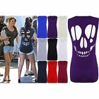 Womens Plus Big Size Vest Selena Gomez Laser Skull Back Cut Out Casual Tank Top