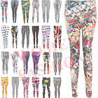 NEW LADIES WOMEN PATTERNED LEGGINGS SIZE 8 10 12 14 SKULL CROSS HEART BLACK
