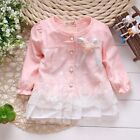New Girls Baby Skirt Long Sleeve Cotton T-shirt Top Dress Shirt Age 1-3Y T08