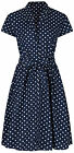 1940s WW2 Retro Vintage Navy Blue Polka Dot Belted A-Line Shirt Dress NEW 8-20