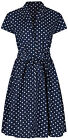 Ladies 1940s WW2 Retro Vintage Blue Polka Dot Belted A-Line Shirt Dress NEW 8-28