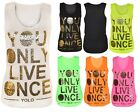 WOMENS GOLD FOILED YOLO PRINTED TOP YOU ONLY LIVE ONCE VEST TOP SIZE 8-14