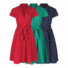 1940's WW2 Landgirl Vintage Style Polka Dot Belted A-Line Shirt Dress 8 - 28