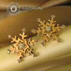 Gold/White Gold Plated/Snow flake Stud Earring/RGE377/N416