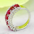 925 Sterling Silver Lady's Ruby Wedding Engagement Micro inlays Ring R9221