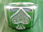 100% 925 sterling silver Playing Card Spade Cz Men's Ring size from 13US to 15US