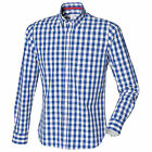 Checked Chequered Blue and White Casual Long Sleeve Cotton Shirt No Logo S-XXL