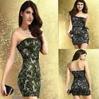 Floral Lace Gold Silver Strapless Dress Sexy Bodycon Formal Prom Party Mini Gown