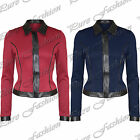 Womens PVC Collared Wetlook  Zip Ladies Full Sleeves Tailored Blazer Jacket Top