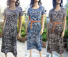 New Boho chic women summer short sleeve leopard style long dress Msd-395