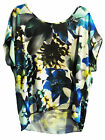 Alfani Women's Blue Floral Scoop Neck Short Sleeve Blouse -- Choose Size!